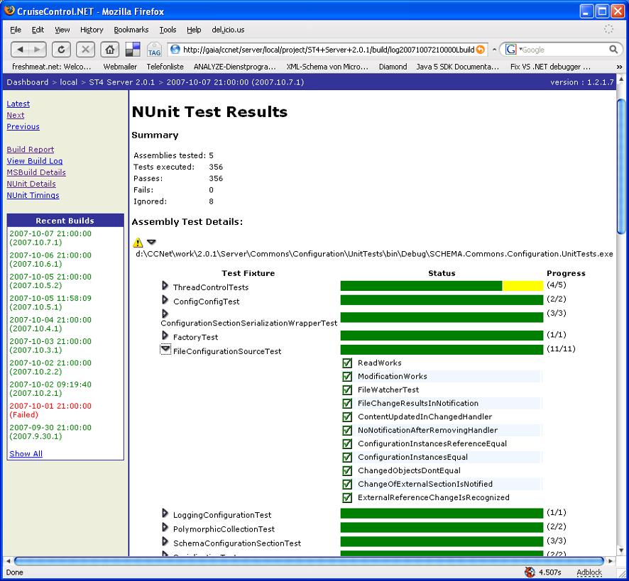 Beispiel für ein Report eines automatisierten Unit Tests