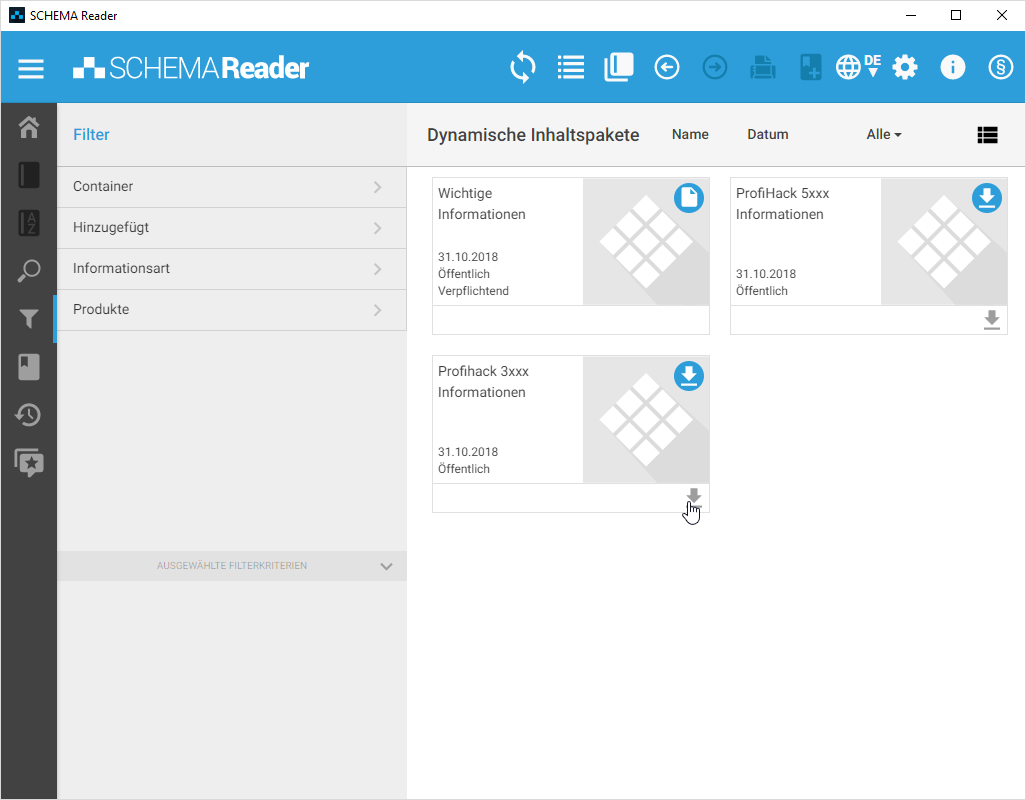 Dynamische Inhaltspakete im SCHEMA Reader
